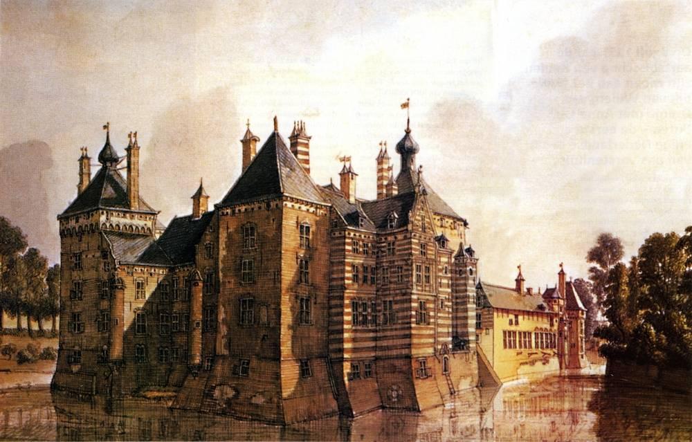 Kasteel Buren in Buren. Tekening Jan de Beijer, 1750